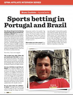 GPWA entrevista Bruno Coutinho Fundador do ApostaGanha 1º página