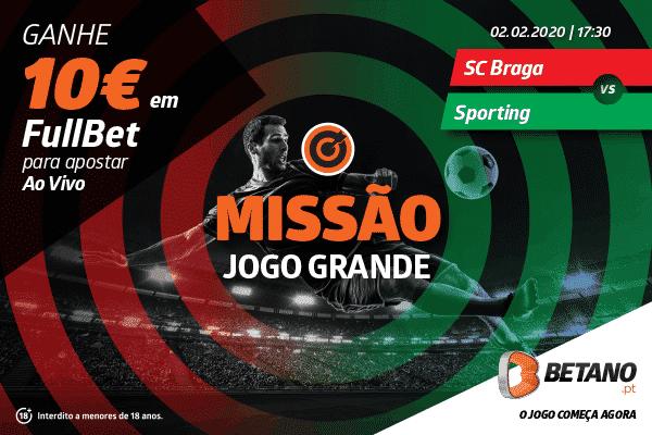 Aposta Grátis de 10€ para o SC Braga vs Sporting